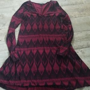 Express burgandy patterned skater dress